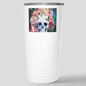 Flowers and Skull Stainless Steel Travel Mug