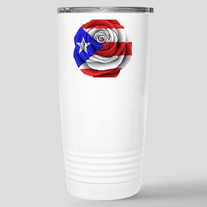 Puerto Rican Rose Flag Stainless Steel Travel Mug