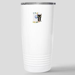 Cat with washing machin Stainless Steel Travel Mug
