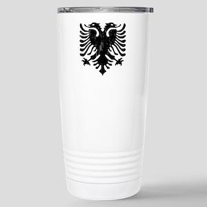 albania_eagle_distresse Stainless Steel Travel Mug
