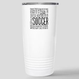 Soccer Word Cloud Stainless Steel Travel Mug