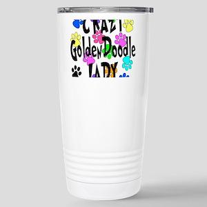 Crazy Goldenddoodle Lad Stainless Steel Travel Mug