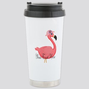 Pink Flamingo Lady Travel Mug