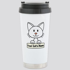 Personalized White Cat Stainless Steel Travel Mug
