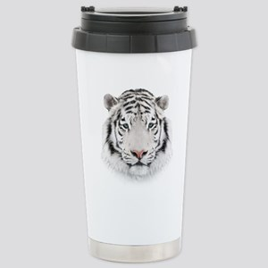 White Tiger Head Stainless Steel Travel Mug