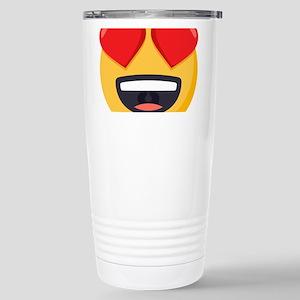 Heart Eyes Emoji 16 oz Stainless Steel Travel Mug