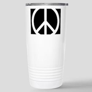 White Peace Sign 16 oz Stainless Steel Travel Mug