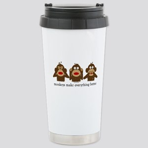 3 Wise Sock Monkeys Stainless Steel Travel Mug