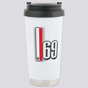 69 Red Whirte Stainless Steel Travel Mug