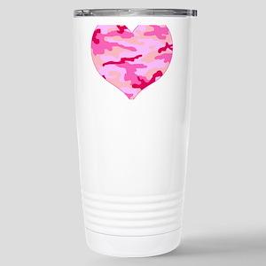 Pink Camo Heart Stainless Steel Travel Mug