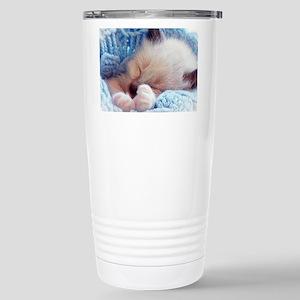 Sleeping Siamese Kitten Paws Travel Mug