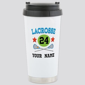 Lacrosse Player Personalized Stainless Steel Trave