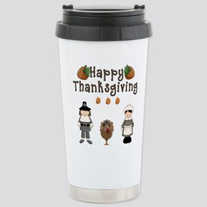 Happy Thanksgiving Pilgrims and Turkey Travel Mug