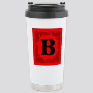 Red Personalized Monogram Initial Travel Mug