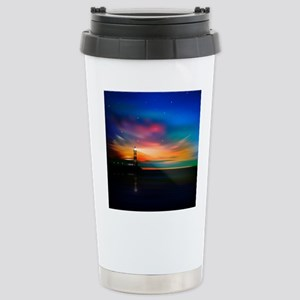 Sunrise Over The Sea And Lighthouse Travel Mug