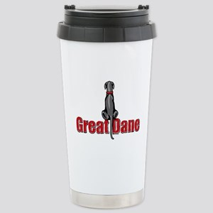 Black Great Dane UC Sit Stainless Steel Travel Mug