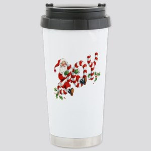 Vintage Joy and Santa Stainless Steel Travel Mug