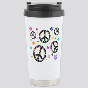 Peace symbols and flowers pat Stainless Steel Trav