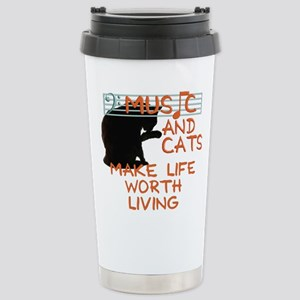 music and cats Stainless Steel Travel Mug