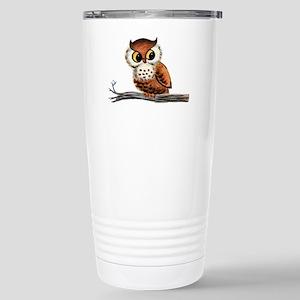 Vintage Owl Stainless Steel Travel Mug