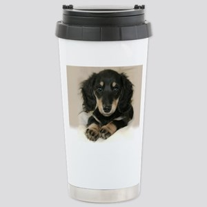 long hair black doxie 1 Stainless Steel Travel Mug
