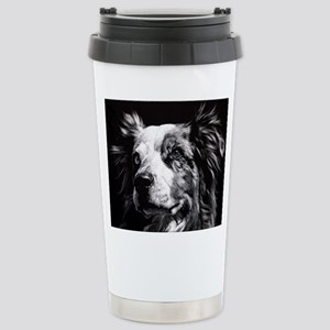 Dramatic Australian Shepherd Stainless Steel Trave