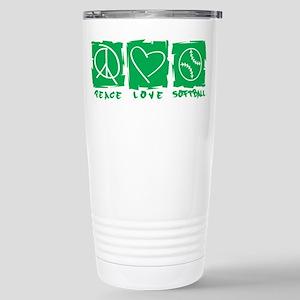 Peace.Love.Softball Stainless Steel Travel Mug