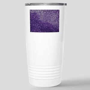 Purple Glitter  Bokeh Stainless Steel Travel Mug