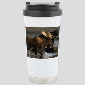 moose splashing in the water Stainless Steel Trave