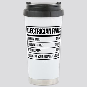 Electrician Rates Humor Stainless Steel Travel Mug