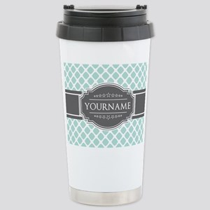 Mint and Gray Moroccan Stainless Steel Travel Mug