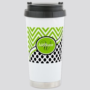 Monogrammed Chevron Pol Stainless Steel Travel Mug