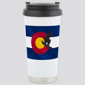 Colorado Snowboard Flag Stainless Steel Travel Mug