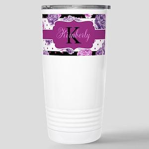 Purple Flower Stripes Monogram Travel Mug