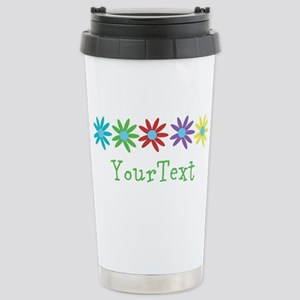 Optional Text Flowers Stainless Steel Travel Mug
