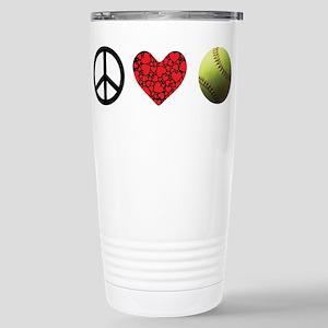 Peace Love Softball Stainless Steel Travel Mug