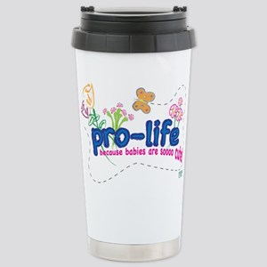 Pro-Life Flowers & Butterfly Stainless Steel Trave