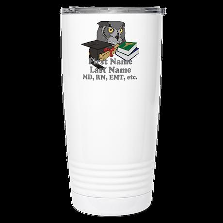 Custom Owl Medical Graduate Stainless Steel Travel