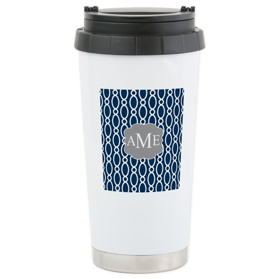 Vine Pattern Monogram Blue Gray