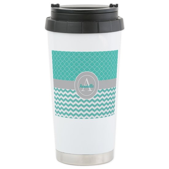 Teal Gray Chevron Quatrefoil
