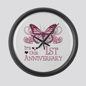 1st Wedding Aniversary (Butterfly) Large Wall Cloc