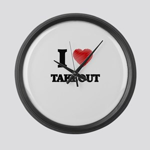 I love Takeout Large Wall Clock