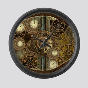 Steampunk, awessome clocks with gears Large Wall C