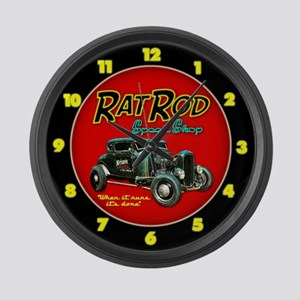 Rat Rod Speed Shop - neon Large Wall Clock