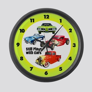Still Plays With Cars Large Wall Clock