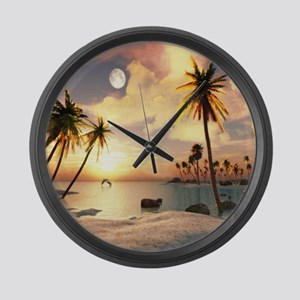 Tropical Beach Large Wall Clock