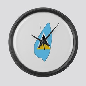 Saint Lucia Flag Map Large Wall Clock
