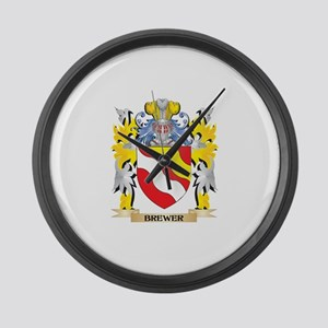 Brewer Coat of Arms - Family Cres Large Wall Clock