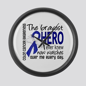 Bravest Hero I Knew Colon Cancer Large Wall Clock