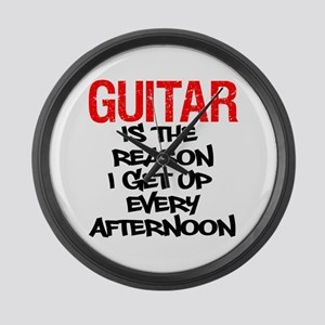 Guitar Reason I Get Up Large Wall Clock